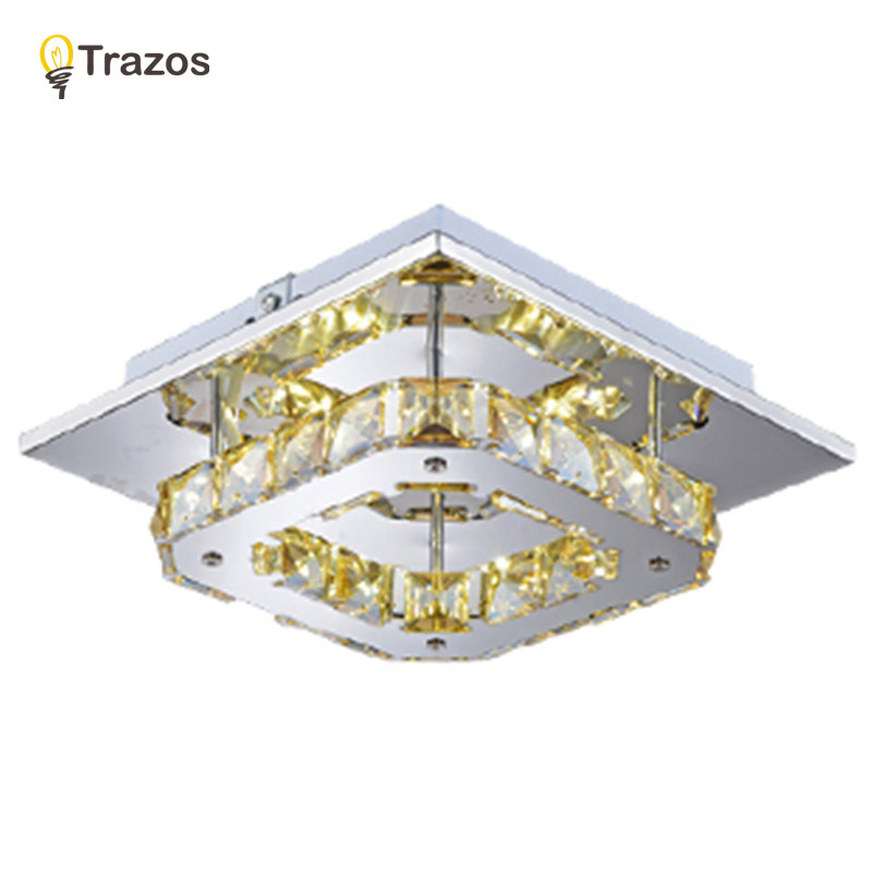 ФОТО Square crystal ceiling lights balcony/hallway lighting 8W recessed/Amber mounted led ceiling lamps AC 100-240V 20X20CM