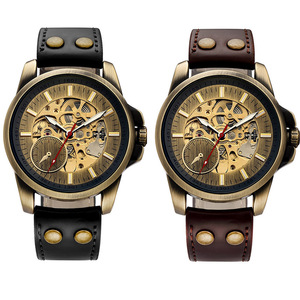Image 5 - Automatic Mechanical Watch 2019 Top Luxury Brand Watches Men Fashion Sport Military Wristwatches Hollow Skull Self Winding Watch