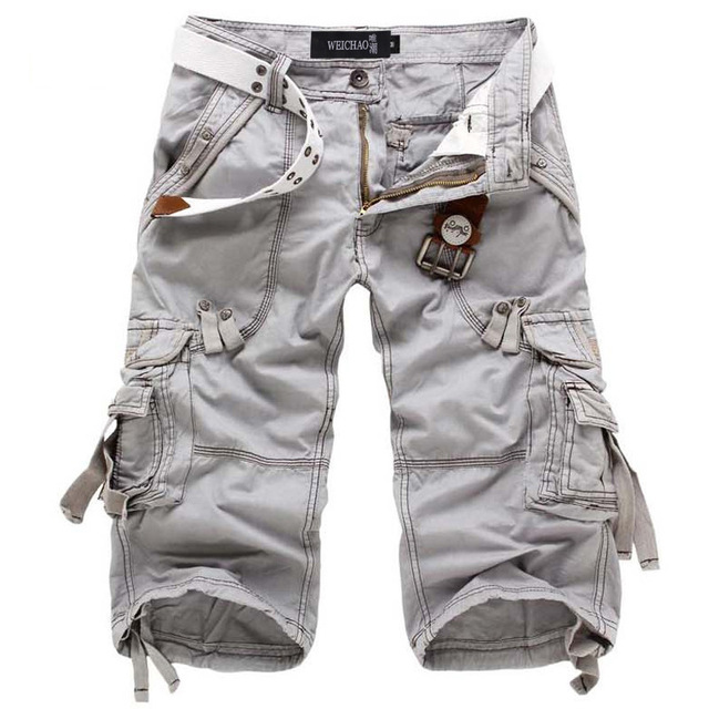 Icpans Casual Shorts Denim Jeans Loose Summer Military Army Knee Length Cargo Shorts Plus Size 40 42 Workout without belt