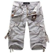 Icpans Shorts décontracté Denim jean ample été militaire armée genou longueur Cargo Shorts grande taille 40 42 entraînement sans ceinture