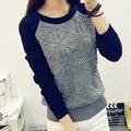 Mujeres suéter de otoño invierno suéter del grano flojo de punto suéter de corea Casual punto Pullover 2015 nueva moda suéter de ganchillo