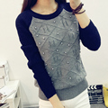 Mulheres Sweater outono inverno Pullover solta pérola camisola de malha coreano Casual Tricot bordado 2015 nova moda crochê camisola