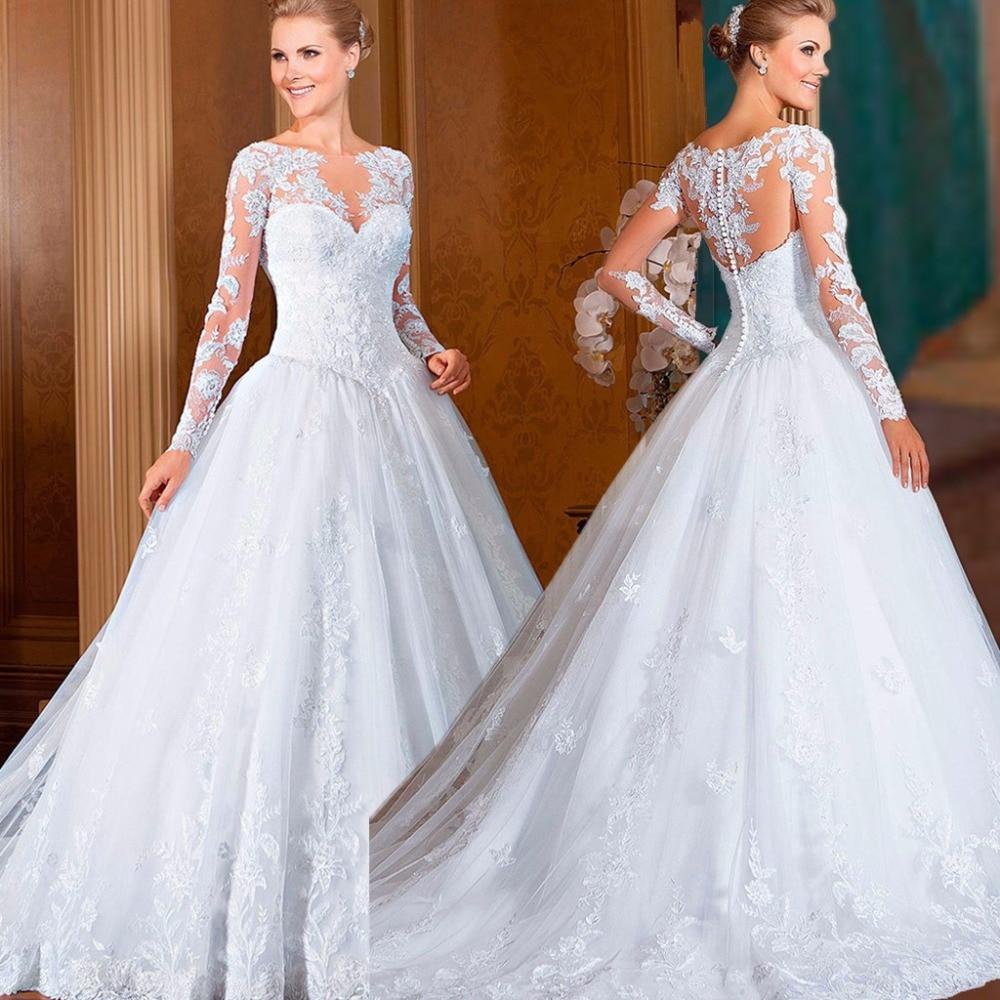 Vestido De Noiva A-Line Floor Length Appliques Tul...