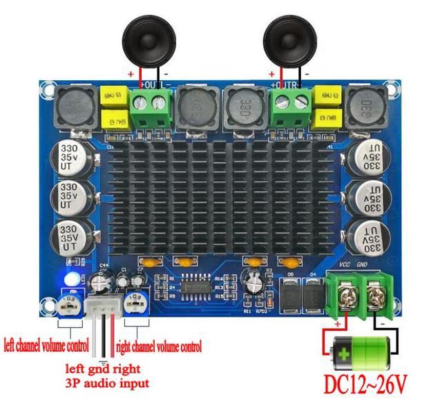 TPA3116D2 150W * 2 Dual Channel Stereo High Powerเครื่องขยายเสียงดิจิตอลบอร์ดTL074C OPAMP