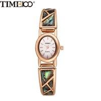 New Hot Time100 Luxury Brand Retro Style Rhinestone Jewelry Clasp Alloy Shell Women Quartz Dress Bracelet