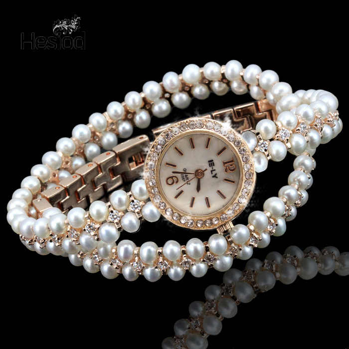Hesiod Luxury Gold Silver Imitation Pearl Small Round Dial Bracelet Watches for Women