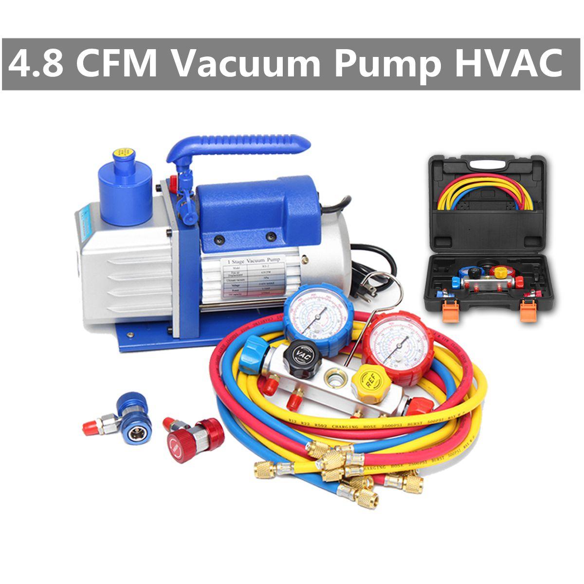 4.8cfm Vakuum Pumpe R134a R22 R410a Hva/c Kältemittel W/4 Ventil Manifold Gauge Pumpen Teile Mini Vakuum Pumpe Für Klimaanlage Sanitär