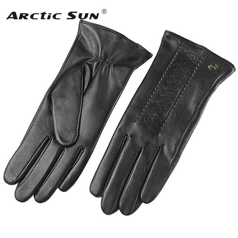 Новая мода 2018 Зимние перчатки Для женщин наручные сплошной из натуральной кожи черные женские перчатки из овчины Акция Бесплатная доставка...
