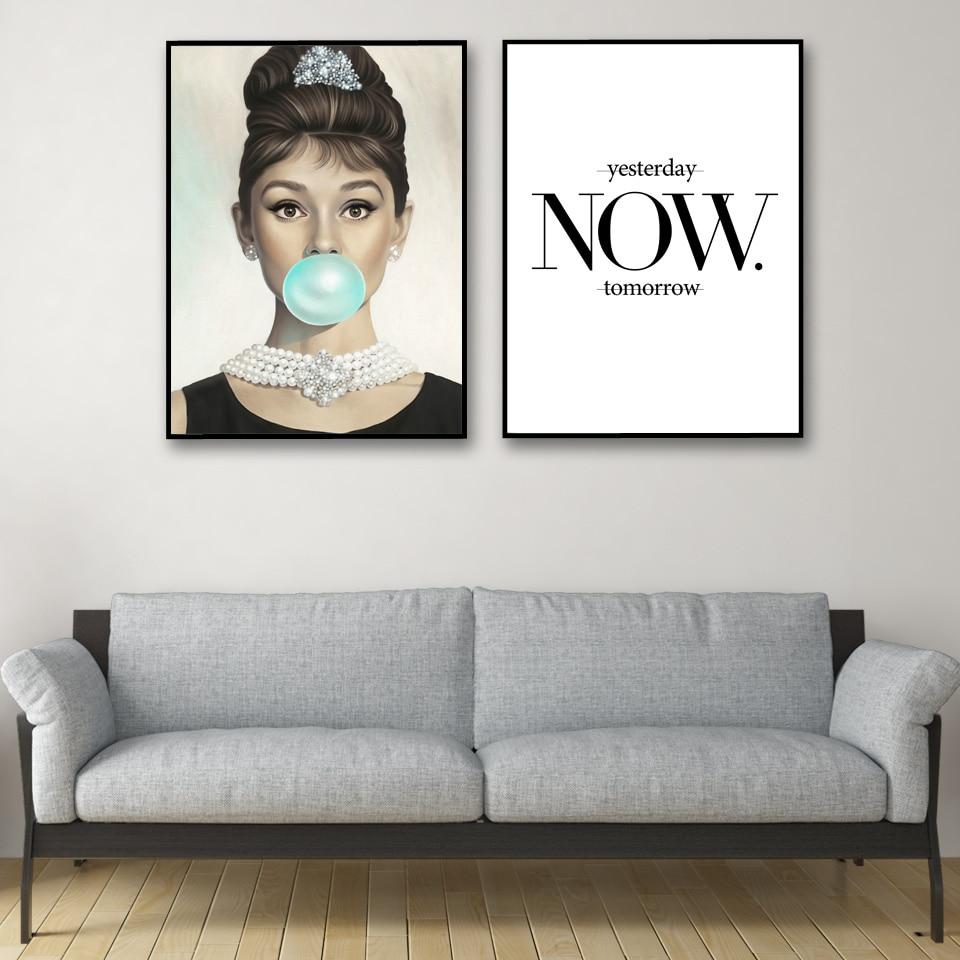 Modern Bedroom Home Decor Audrey Hepburn Woman Wall Art