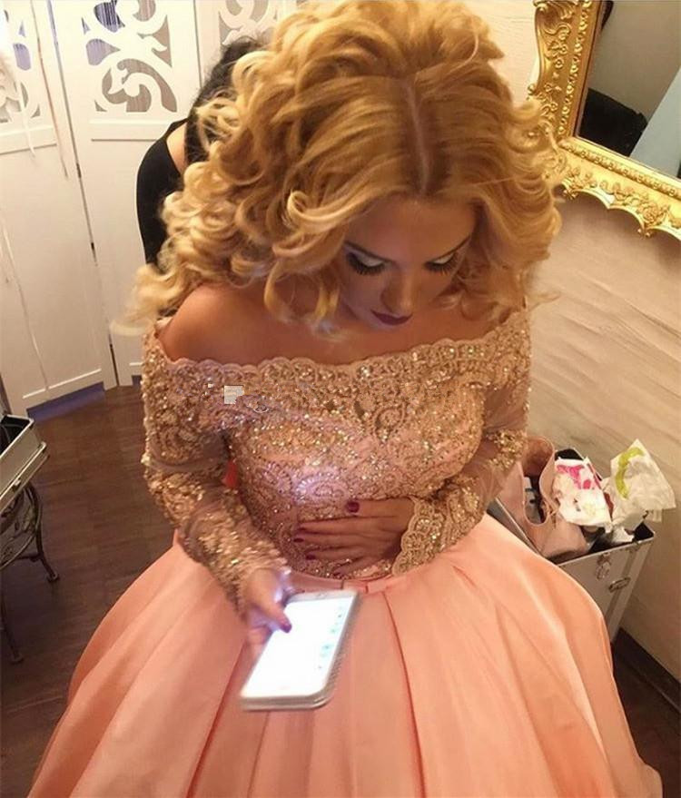 Alluring Plus Size Ball Gown   Prom     Dresses   Bateau Neck Long Sleeves Crystal Appliques Satin Blush Pink Sparkly Evening Gowns