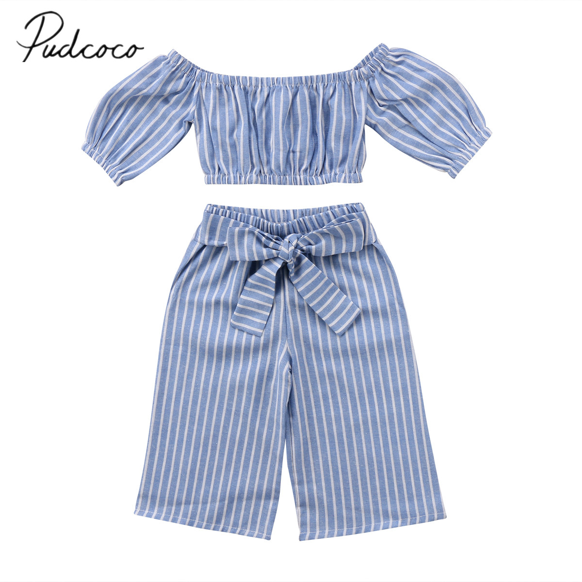 2018 Brand New Toddler Infant Baby Kid Girl Off-shoulder Top Tshirt Cotton Casual Stripe Bowknot Pants Outfits 2Pcs Set Fashion new mens colors short sleeve cotton tshirt henry kissinger quote absence