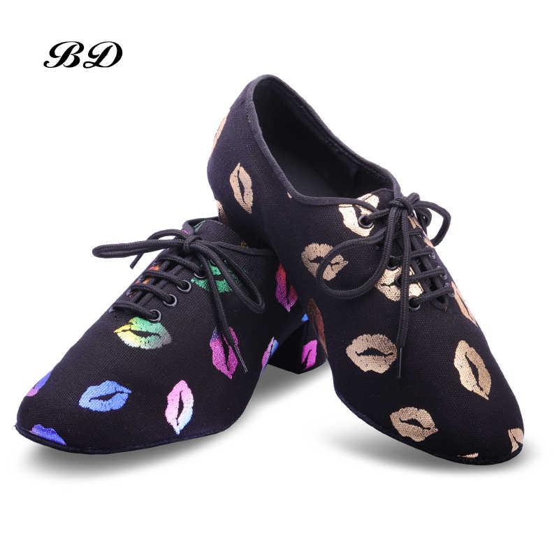 Sneakers Latin Dansschoenen Vrouwen Echt Bd T1 Leraar Schoenen Zwart Hak 4.5 Cm Mannelijke Vrouwelijke Echte Rode Lippen Oxford doek Zakken