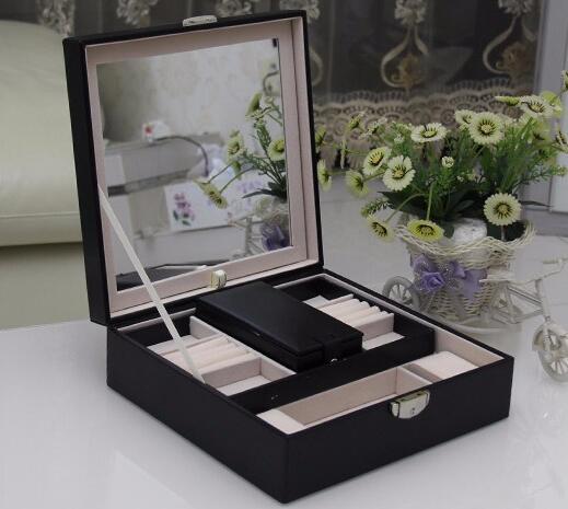 цена на free shipping 25*25*8.5cm black high grade double layer jewelry storage box