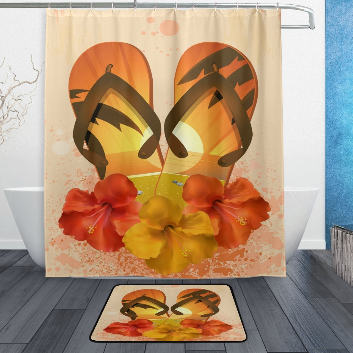 Tropical Hibiscus Flower Flip Flops Waterproof Polyester Fabric Shower Curtain with Hooks Doormat Bath Floor Mat Bathroom