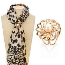 Silk Scarf Jewelry Accessories Pearls Shawl Ring Clip Tricyclic Scarves Crystal Buckle Luxurious Simple Women Girl