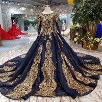 modabelle Navy Blue Sequins Evening Dress Vestidos De Mujer Fiesta Noche Long Sleeves Evening Dress Arabic Robe De Soiree