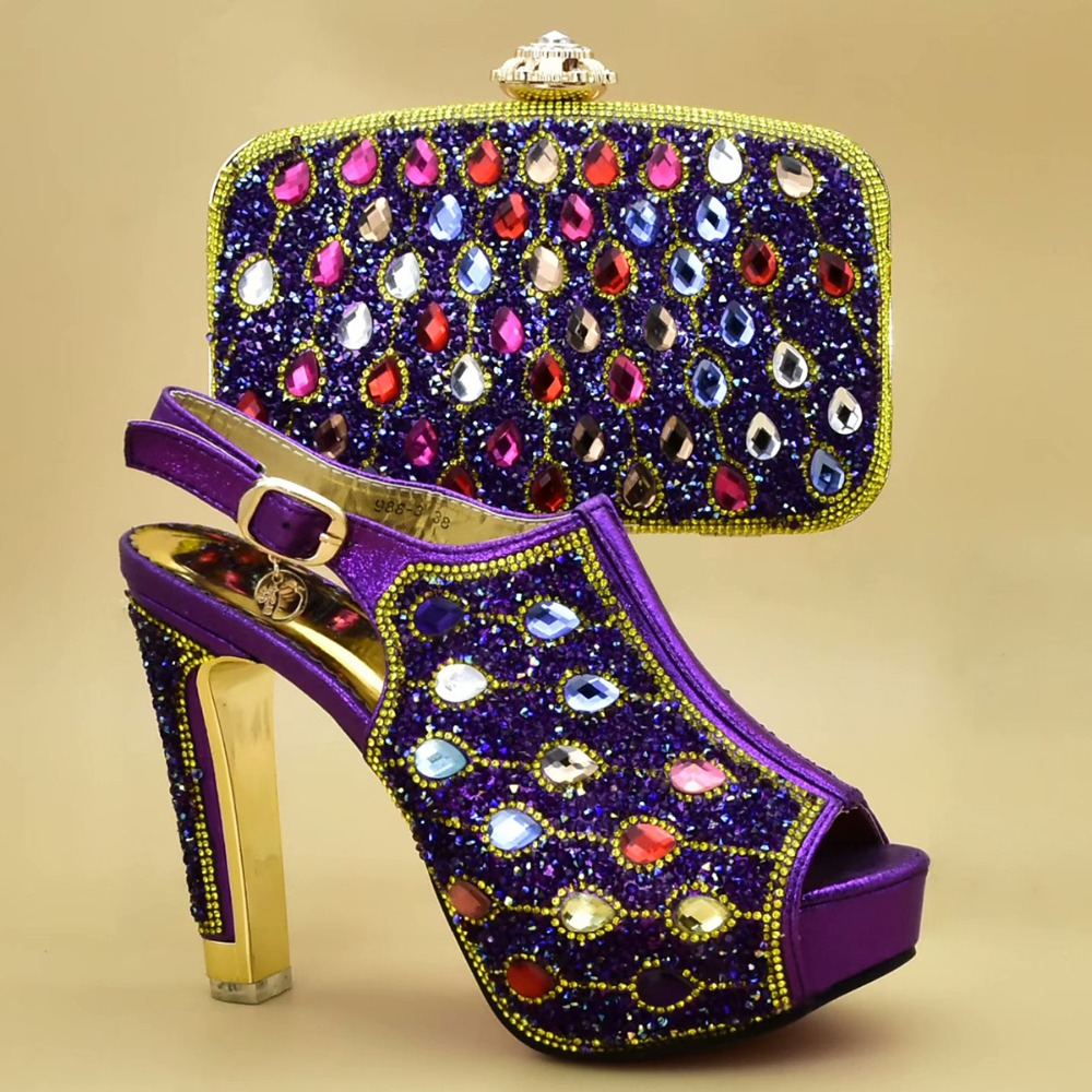 New Fashion Purple Color African Women Matching Italian Shoes and Bag Set Decorated with Rhinestone Italian Ladies Shoe and BagNew Fashion Purple Color African Women Matching Italian Shoes and Bag Set Decorated with Rhinestone Italian Ladies Shoe and Bag