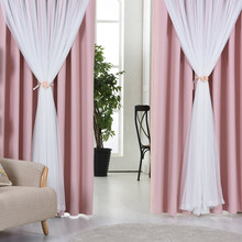 Lucky Fl Tel Lace Head Top Curtain Pink Color Cloth Voile Sheer Black Out