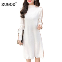 RUGOD Striped Knee Length Dress Women Elegant Winter Spring 2018 Long Sleeve Dresses Hot Sale O
