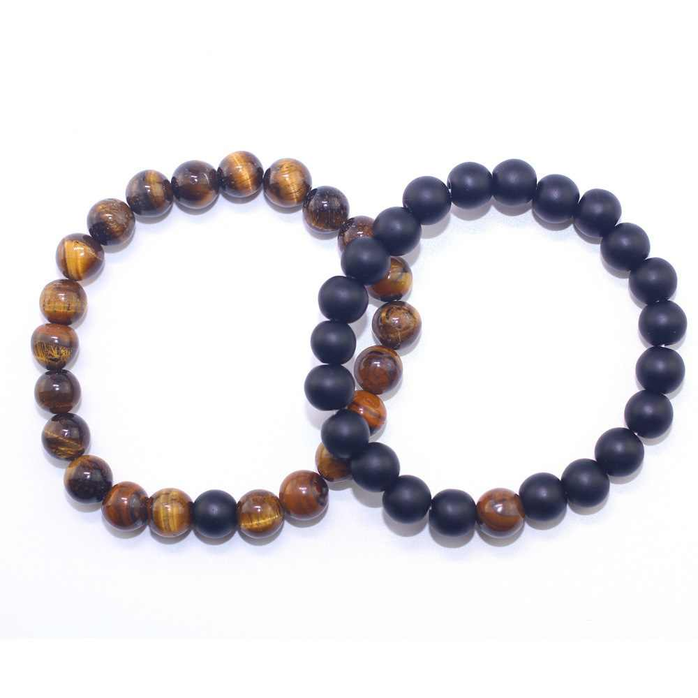 Men and Women Beaded Bracelets Natural Tiger Eye Stone Matte Beads Couples Bracelet Handmade Fashion Bangles Christmas Gifts