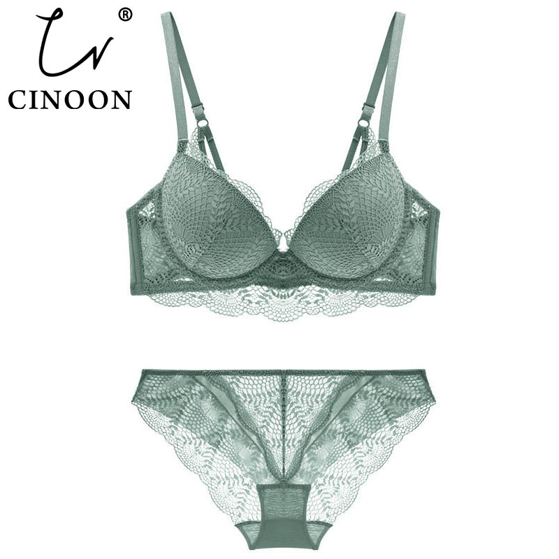 CINOON New Women's underwear Set Lace Sexy Push up Bra And Panty Sets Comfortable Brassiere Adjustable Gathered Lingerie-in Bra & Brief Sets from Underwear & Sleepwears
