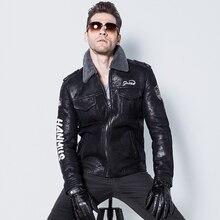 Men's Lamb Fur Jacket Double-Face Fur Coat Fashion Embroidery Air Force Flight Suit Short Casual Jacket    GSJ118