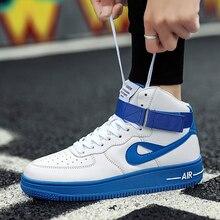 Baru Ukuran Besar Sepatu Basket Jordan Tinggi Top Non-Slip Pria Biru Putih  Zapatos De Hombre Angkatan Udara 1 Unisex Bola Sneake. 876ceafe01