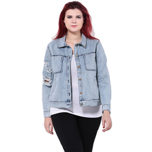 Plus Size Vintage Hole Blue Jeans Denim Jacket Women Single Breasted Long Sleeve Coat Outwear Jeans Jacket 3XL 4XL 5XL 6XL
