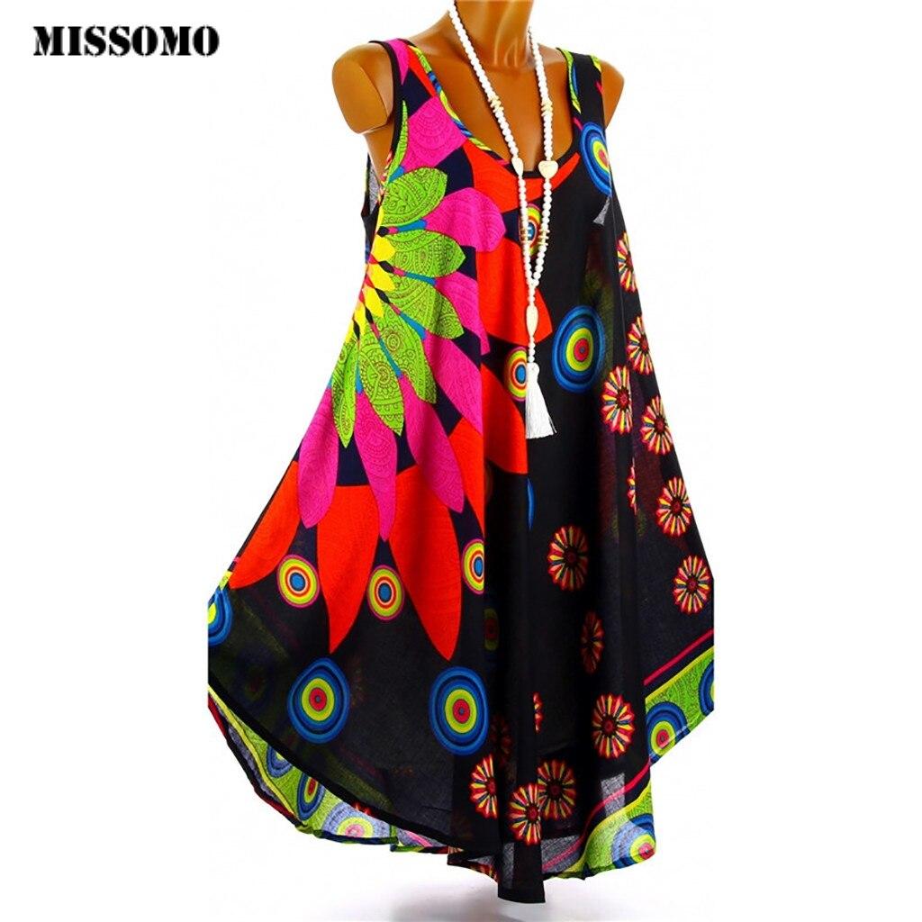 MISSOMO Boho Summer Dress Women Printed Beach Dress cami Beach Mini party dresses Holiday Retro Vestiod Vintage women dress 614