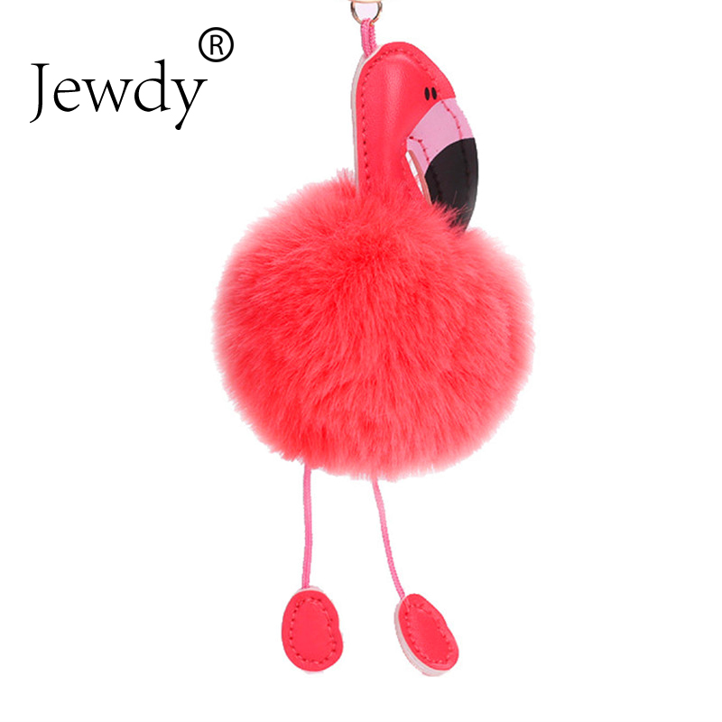 Jewdy Cute pompom keychain flamingo key chain fluffy fake rabbit fur ball women car bag pompon key ring pom pom holder Christmas random color ball flamingo round keychain