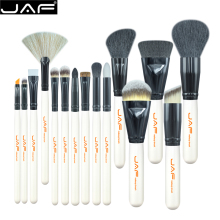 цена на JAF Brand 15pcs Professional Goat Hair Makeup Brushes Set Large Powder Foundation Eye Shadow Fan Brush Beauty Cosmetic Tools
