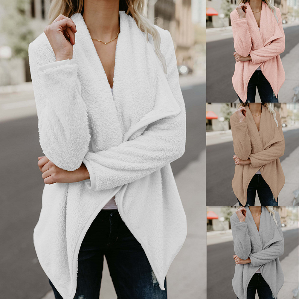 YYFS Hetida Free Shipping Ebay Amazon New Winter Open Stitch 4 Solid Color Warm Fleece Loose Woolen Cloth V-neck Women Jacket