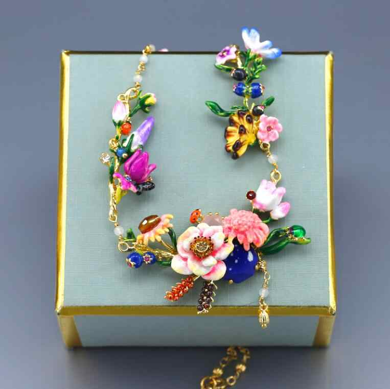 CSxjd Luxury Jewelry Garden Stone Flower Three Layer Enamel Necklace Tassel big necklace