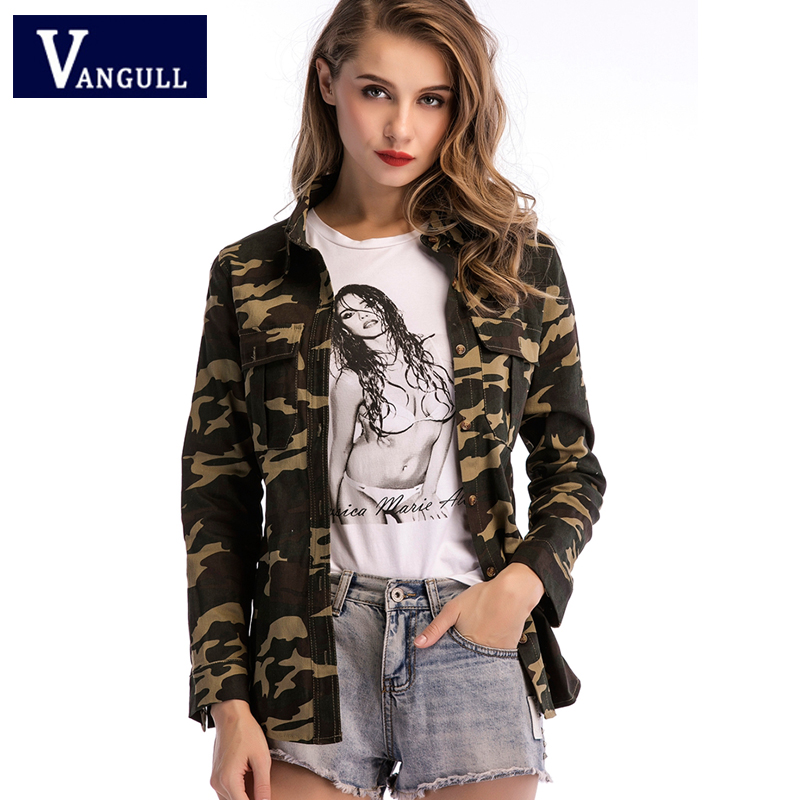 Vangull 2019 Spring Fashion Women's Clothing Camouflage Print   Basic     Jackets   Long Sleeve Turn-down Collar Single Breasted Coats