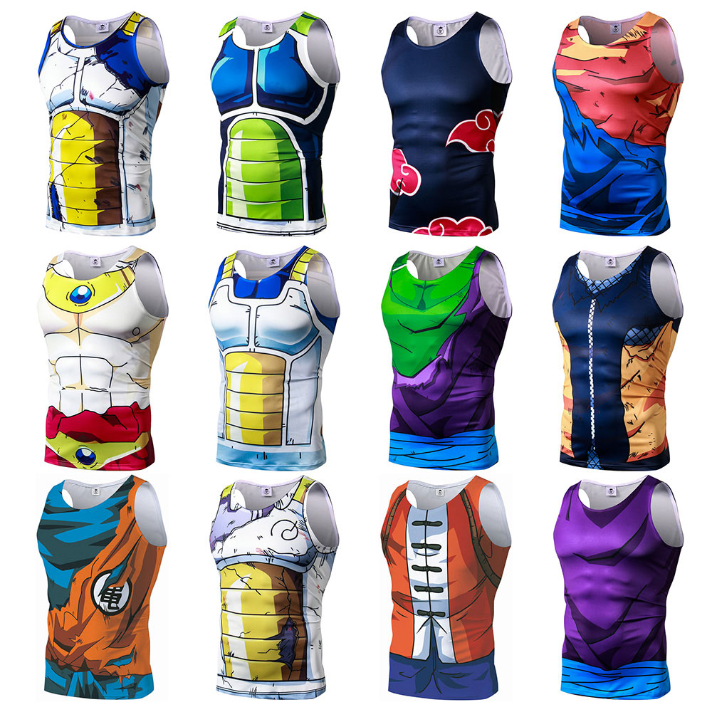 2019 New Summer Dragon Ball Naruto Vegeta Son Goku Roshi Printed Bodybuilding Unisex Fitness   Tank     Tops   Vest Men Sleeveless Tees