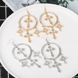 FASHIONSNOOPS okrągłe metalowe kolczyki komunikat 2019 duże kryształowe kolczyki dla kobiet duży krzyż modne kolczyki luksusowe Party biżuteria