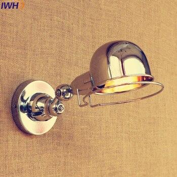 IWHD Công Nghiệp Bạc Đèn Tường LED Có Thể Điều Chỉnh Dài Swing Cánh Tay Đồ Đạc Edison Retro Tường Cổ Điển Sắt Ánh Sáng Chiếu Sáng Trong Nhà E14