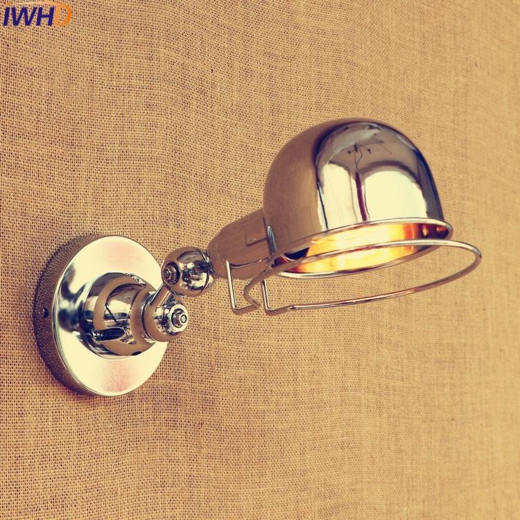 IWHD Industrial Silver Wall <font><b>Lamp</b></font> <font><b>LED</b></font> Adjustable Long Swing Arm Fixtures <font><b>Edison</b></font> Retro Vintage Wall Light Iron Indoor Lighting E14