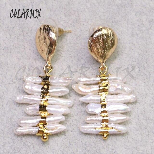 3 Pairs טבעי פניני עגילי זהב צבע מצופה פניני תכשיטי פניני עגילי מתנה עבור גברת אלגנטי עגיל עבור lady9239
