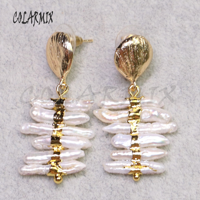 3 أزواج من أقراط اللؤلؤ الطبيعي مطلية بالذهب مجوهرات اللؤلؤ أقراط هدية للسيدات أقراط أنيقة للسيدات lady9239