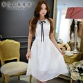 Dabuwawa vestido de verão 2016 nova branca sem mangas elegante do vintage das mulheres vestidos de mulheres tamanho grande rosa boneca