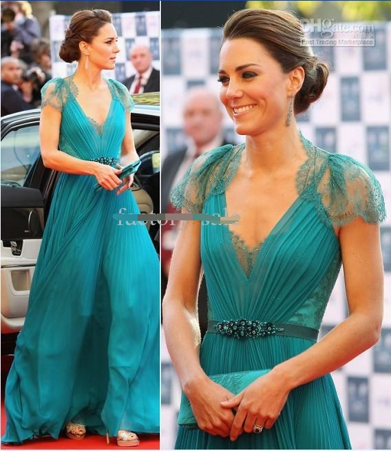 Kate Middleton in Jenny Sheer with cap Sleeve Evening Formal dress Celebrity Red Carpet Dresses Lace Chiffon Evening Dresses