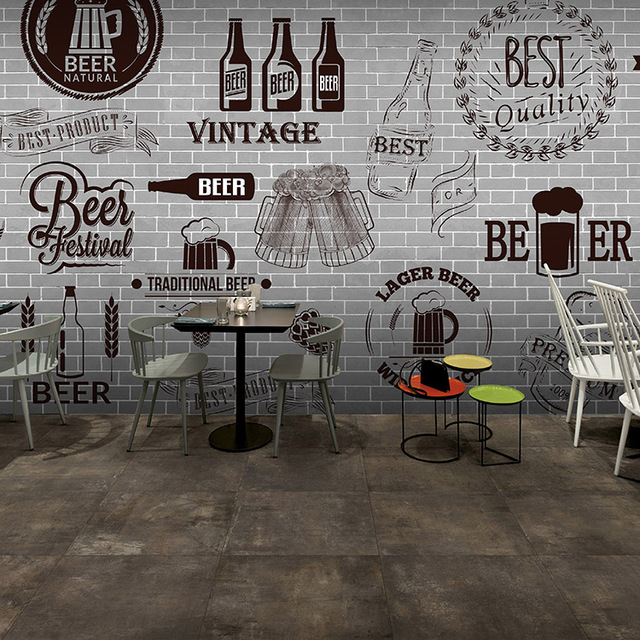 Bar Wallpaper: Custom 3d Mural Gray Cement Black White Brick Wall Retro