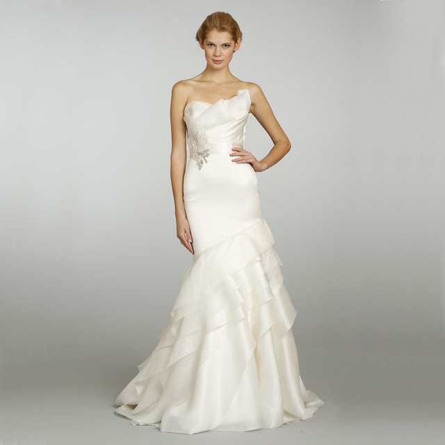 Silk Satin Strapless Beaded Belt Tiered Train Organza Mermaid ...