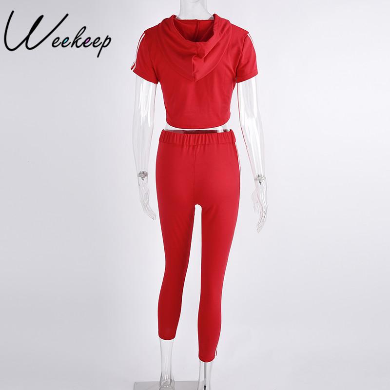 HTB1EKtCRpXXXXXgaXXXq6xXFXXXB - Women Brand Two Piece Set Side Striped Crop Top And Leggings Red Fitness Set JKP041