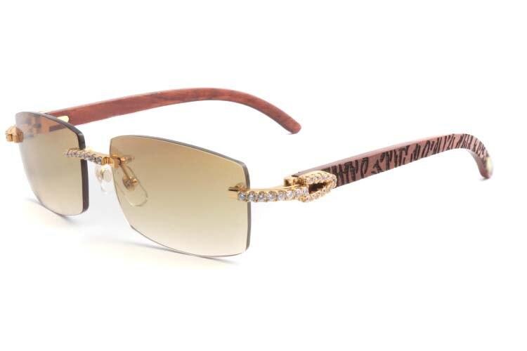 Cartier 3524012 New Diamond Lattice Wood Sunglasses Gold (1)