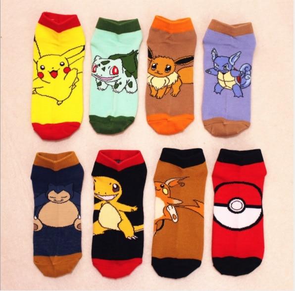 8Pairs/Lot Pokemon Go Socks Pocket Monster Costume Ankle Socks Pikachu Cartoon Pattern Cotton Socks Tube Socks