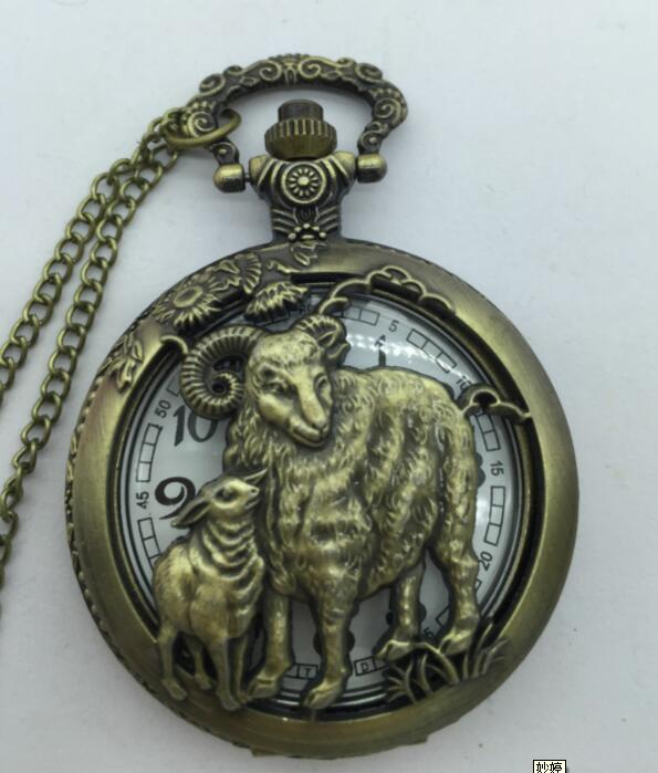 Free shipping Bronze Sheep Hollow Quartz Pocket Watch Necklace Pendant Women Men s Gifts Sheep PP58