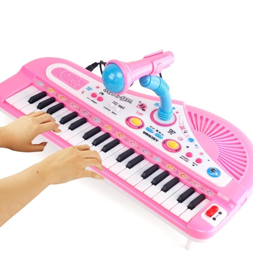 MUQGEW Piano jouet pour enfants 37 clés Instrument électronique Microphone multifonctionnel juguetes educativos enfants jouets - 3