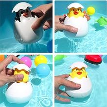 아기 목욕 장난감 아이 귀여운 오리 펭귄 계란 물 스프레이 스프링 쿨러 욕실 뿌리는 샤워 수영 물 장난감 아이 선물